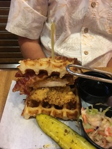 Chicken & waffles burger